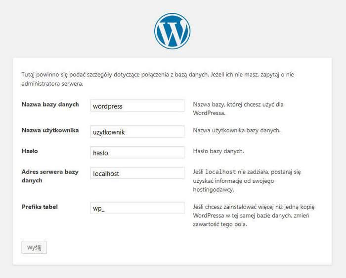 instalacja CMS WordPress